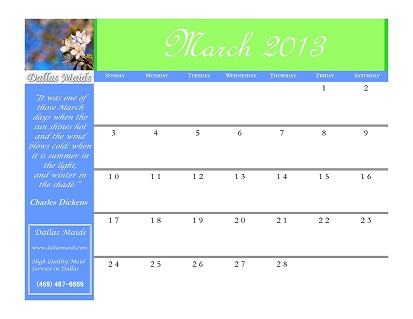 march calender dallas maids